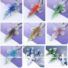 Handmade Cross Murano Lampwork Glass Foil Flower Bead Pendant For Necklace DIY