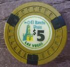 1940s $5 El Rancho Las Vegas Nevada Casino Chip