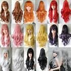 New Women Heat Resistant Curly Wave Anime Cosplay Costume Party Long Full Wigs W