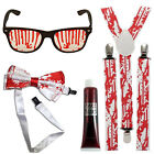 Fancy Dress Bloody Nerd Geek Zombie Attack Teacher School Glasses Braces Bow Tie