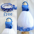 Charming Royal/Sapphire blue rose petals flower girl dress FREE CROWN all sizes