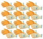 12 Pairs Orange Latex Palm Coated Rubber Grip Builders Gardening Work Gloves
