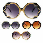 Womens Octagon Pow Art Deco Oversize Large Round Runway Sunglasses
