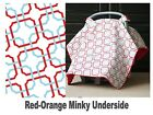 CARSEAT CANOPY Infant Car Seat Cover -Cool Cotton w/ Soft Warm Minky Fabric NEW!