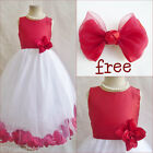 Charming red/white rose petals bridal flower girl dress FREE HAIR BOW all sizes