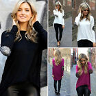 Women Ladies Casual Loose Tee Tops Long Sleeve Stitching Sequins T Shirts Blouse
