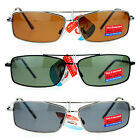 SA106 Mens Antiglare Polarized Narrow Rectangular Thin Metal Shooter Sunglasses