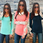 Womens Long Lace Sleeve T shirt Blouse Ladies Casual Summer Slim Fit Cotton Tops