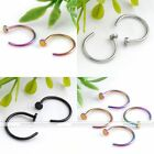 Stainless Steel Nose Ring Hoop 20G Non Piercing Fake Illusion Cuff Stud 2pc