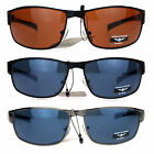 Mens Narrow Rectangular Metal Rim Sport Biker Warp Classic Guys Sunglasses