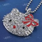 Crystal Ribbon HelloKitty Silver Plated Alloy Cute Cat Head Pendant For Necklace