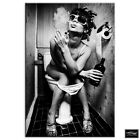 Girl on toilet Smoking  Urban BOX FRAMED CANVAS ART Picture HDR 280gsm