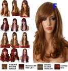 AUBURN GINGER Wig Natural Long Curly Straight Wavy Synthetic Women Fashion UK
