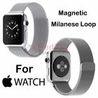 Genuine Leather Loop Milanese Magnetic Loop Stainless Watch Band For Apple Watch