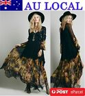 Ombre Flower Flowy Double Slits Womens Evening Party Maxi Dress AU Local Postage