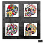 Floral Skulls Abstract   Illustration BOX FRAMED CANVAS ART Picture HDR 280gsm
