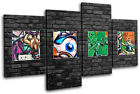 Abstract Funky Brick Wall  Graffiti CANVAS WALL ART Picture Print VA