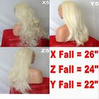 BLONDE Long Curly Layered Half Wig Hair Piece Ladies 3/4 Wig Fall Clip in #613L