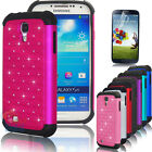 Bling Crystal Rugged Rubber Matte Hybrid Case Cover For Samsung Galaxy S4 i9500