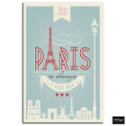 Typography Paris  Vintage BOX FRAMED CANVAS ART Picture HDR 280gsm