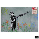Boy with Gun   Banksy Street BOX FRAMED CANVAS ART Picture HDR 280gsm