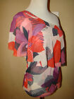 SWEET PEA 100% NYLON ONE SHOULDER RUFFLE ACCENT BLOUSE TOP SHIRT SIZE SMALL