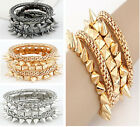 Retro Gothic Punk Multilayer Snake Chain CCB Rivets 5 Rows Set Bangle Bracelet