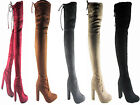 NEW LADIES WOMEN OVER THE KNEE STRETCHY THIGH HIGH BLOCK HEEL BOOT SIZE 3 - 8