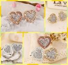 Exquisite Letter Heart Shape Lady Fashion Crystal High Quality Studs Earring