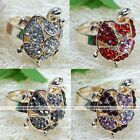 Womens Crystal Rhinestone Tortoise Turtle Adjustable Party Cocktail Finger Ring
