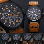 2015 Waterproof Vintage Classic Mens Date Leather Strap Sport Quartz Army Watch