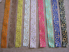 2 lngths of 2cms wide GROSGRAIN RIBBON - Colours with Gold Pattern **NEW**