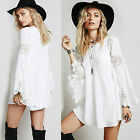 Sexy Women's Lace Boho Bell Sleves Gypsy Top Blouse Hippie White Mini Dresses