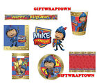 MIKE THE KNIGHT Party time!  plates,cups,banner,napkins,tablecloth REDUCED CLEAR