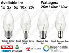 PACKS OF BRANDED CANDLE LIGHT BULBS LAMPS 25W, 40W, 60W - SES, SBC, ES, BC.