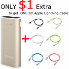 Lumsing Mini 6700mAh External Battery Power Bank Gold+1m Apple Lightning Cable