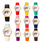 Womens National Wind Elephant Casual Leather Strap Quartz Wrist Watch Free Ship