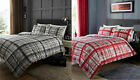 Duvet Cover with Pillowcase Bedding Set Plaid Check with Reversible Stripes