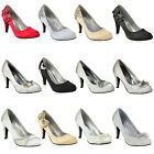 Damen Pumps Brautschuhe High Heels Satin Optik Schuhe 890160 Gr. 36-41