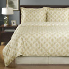 Silky Soft Sierra Beige with Ivory Egyptian Cotton Duvet Cover Set