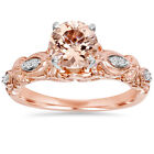 1 Ct Morganite & Genuine Diamond Vintage Engagement Ring 14K Rose Gold