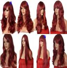 BURGUNDY RED Long Wavy Straight Fancy Dress LADIES FASHION HAIR WIG Heat Resist