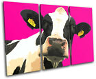 Pop Art Cow Pink  Animals CANVAS WALL ART Picture Print VA