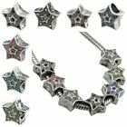 Wholesale Lot Crystal Austrian Star Starry Antiqued X'mas European Charm Bead