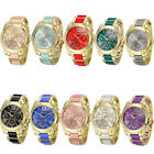 2015 HOT Womens Watches Geneva Roman Numeral Gold Plated Metal/Nylon Link Watch