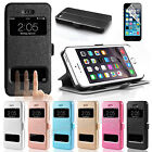 Magnetic Leather Wallet Window Case Cover For Apple iPhone 6S & Samsung Models