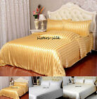 19Momme 100% Pure Silk Duvet Doona Cover Fitted Flat Sheet Set King Size Stripe
