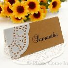 DIY Personalised Doily Kraft Place Cards for Rustic Hessian Wedding