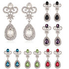 Newest Wedding Bridal Crystal Rhinestone Dangle Silver Women Earrings stud gift