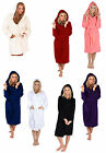 Ladies Women's Warm Coral Fleece Hooded Bathrobe Dressing Gown Housecoat Belted